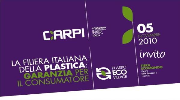 """Il consorzio CARPI presenta il convegno """"""""La Filiera Italiana della plastica: Garanzia per il Consumatore"""""""