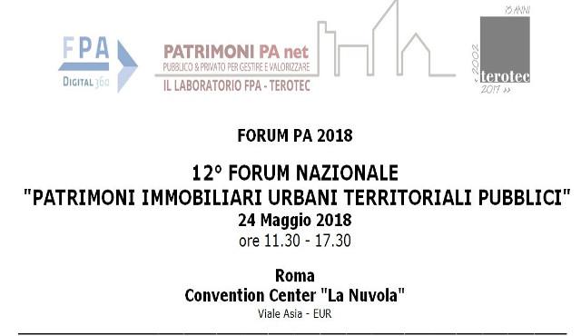 """""""12° Forum Nazionale sui Patrimoni Immobiliari Urbani Territoriali Pubblici"""""""
